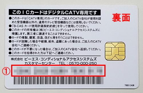 B-CASカード(裏)