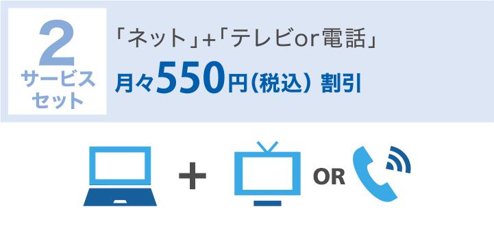 2サービスセット:ネット+テレビor電話 月々500円(税込550円)割引