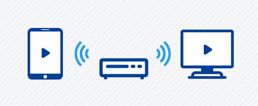 ホームネットワーク機能を使ってタブレットや他の部屋のテレビで番組を見ている様子